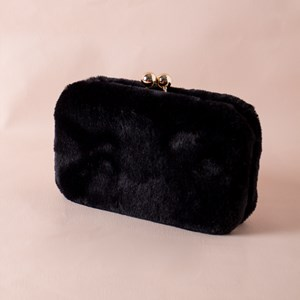 Fur Ball Clasp Structured Clutch