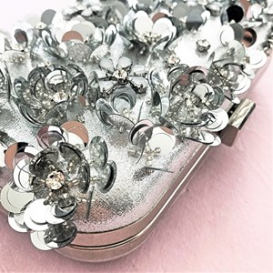 3D Sequin Flowers Structured Clutch