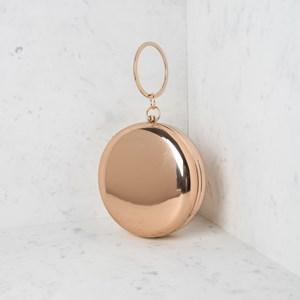 High shine Metallic Structured Circle Ring Bag