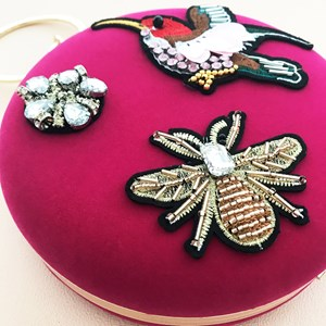 Birds & Bees Patches Velvet Ring Handle Bag