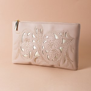 Stitched Floral Cut Out Zip Top Clutch