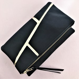 Metallic Lines Faux Suede Flap Over Clutch