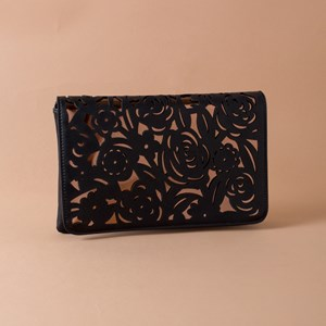 Bold Rose Cut Out Flap Over Clutch