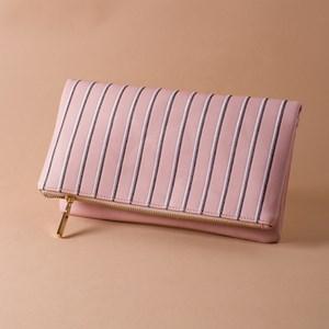 Two Tone Stitch Stripe Flap Over Clutch