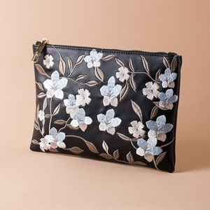 Embroidered Flower Garden Zip Top Clutch