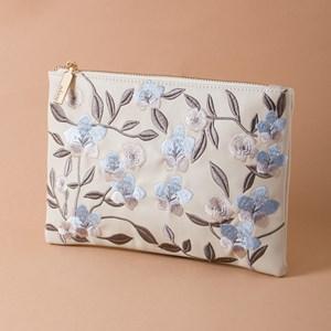 Embroidered Flower Garden Zip Top Clutch