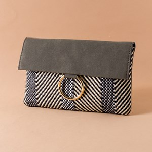 Woven Stripe Mix Suede Metal Ring Clutch
