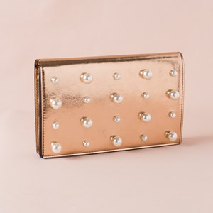 Pearl Embellished Flap Over Clutch
