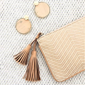 Natural Woven Suede Tassel Mini Pouch