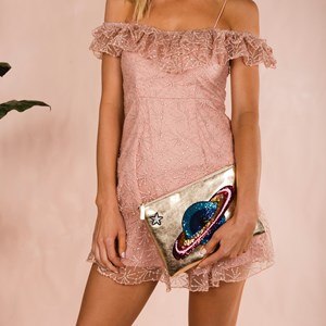 Off the Planet Sequin & Metallic Clutch
