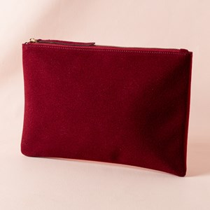 Mixed Shades Suede Zip Top Pouch