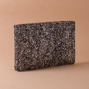 Textured Glitter Recessed Zip Small Clutch