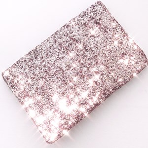 Textured Glitter Recessed Zip Small Clutch