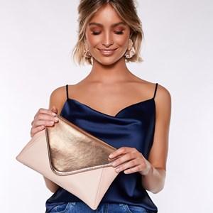 Tri Tone Flap Over Envelope Clutch