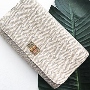 Basket Weave Bamboo Clasp Foldover Clutch