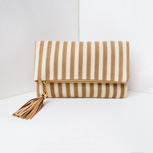 Woven Stripe Fold Over Tassel Clutch
