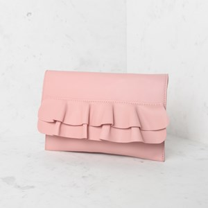 Double Ruffle Flap Over Clutch