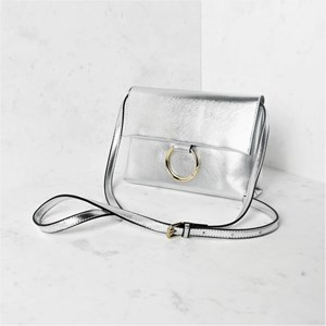 Metallic Metal Ring Flap Over Lunch Bag