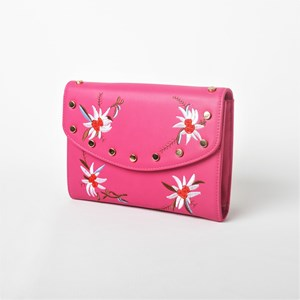 Embroidered Flowers Metal Stud Clutch