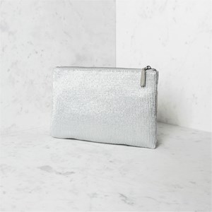 Pleated Metallic Zip Top Clutch