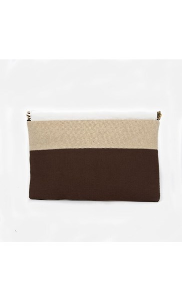 Panelled Weave Framed Top Clutch