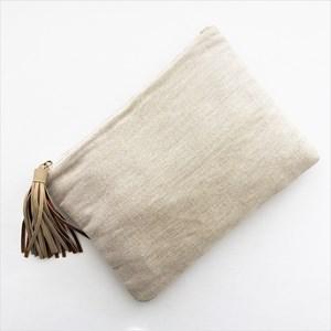 Natural Weave Suede Tassel Clutch