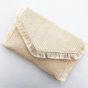 Woven Fringe Edge Flap Over Clutch