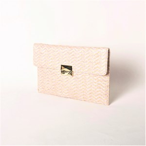 Woven Chevron Metal Clasp Fold Over Clutch
