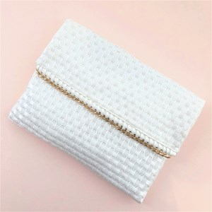 Woven Links Chain Edge Fold Over Clutch