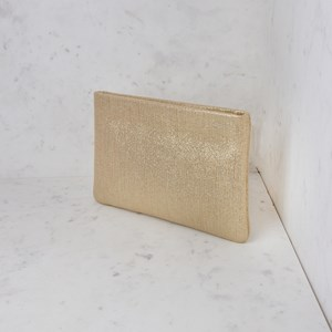 Metallic Stripe Print Recessed Clutch