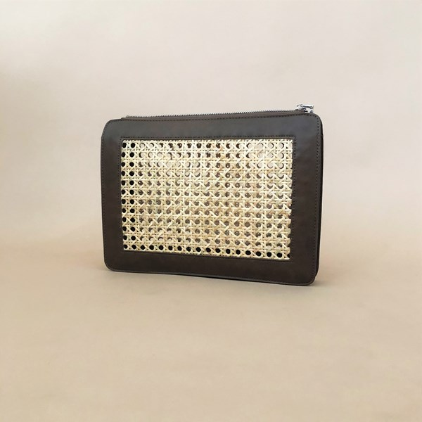 Rattan Panelled Zip Top Clutch