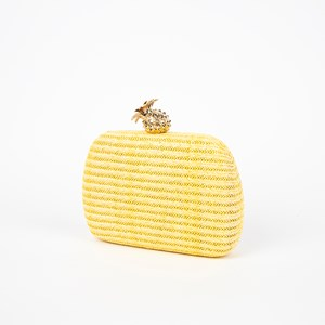 Woven Structured Pineapple Top Clutch