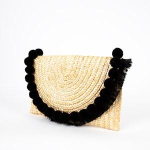 Pom Pom & Tassel Flap Over Basket Weave Clutch
