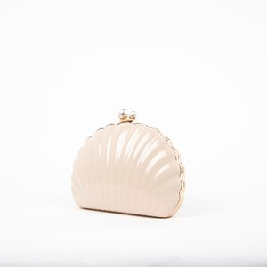 Patent Clam Pearl Top Structured Clutch