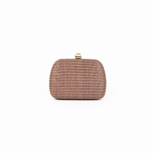 Woven Structured Metal Ball Top Clutch