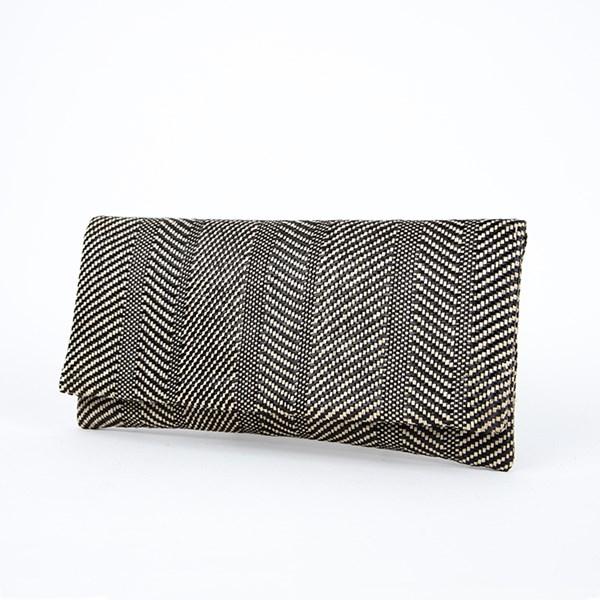 Diamond Pattern Weave Slim Fold Over Clutch