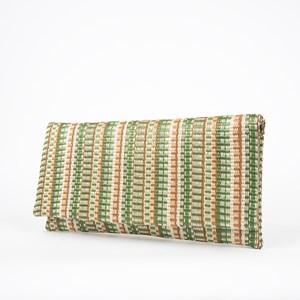 Stripe Pattern Weave Slim Fold Over Clutch