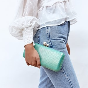 Pearl Top Metallic Lined Structured Clutch