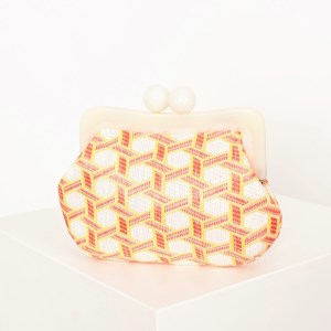 Resin Frame Hexagon Weave Unstructured Clutch