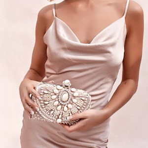 Pearl & Sequin Embellished Structured Clutch