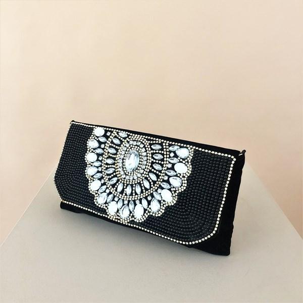 Jewelled Fan Embellished Velvet Foldover Clutch