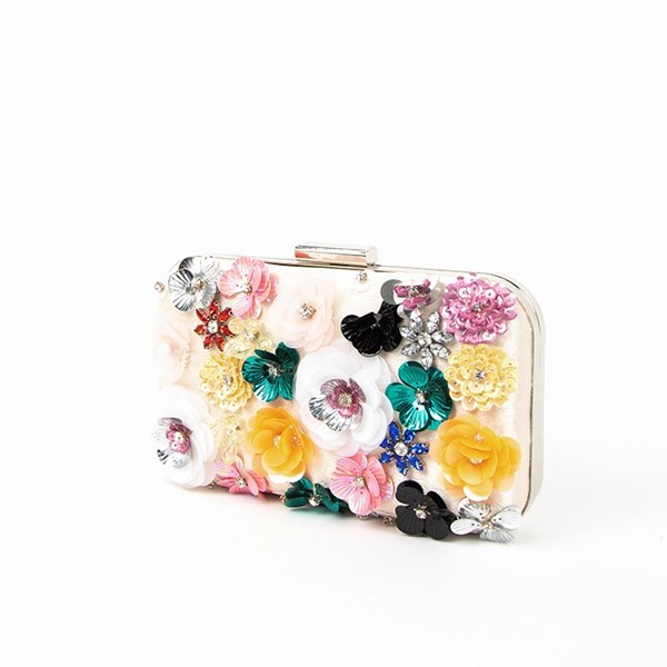 3D Jewelled Flowers Structured Clutch