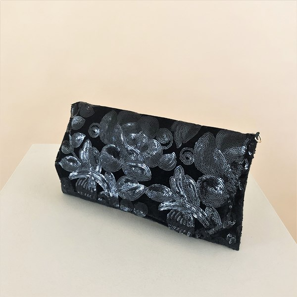 Sequin Floral Vine Pattern Foldover Clutch