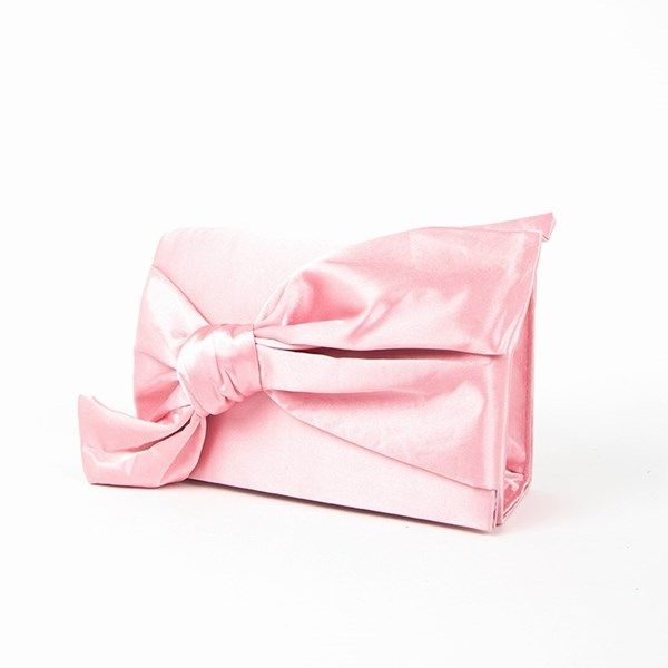 Satin Bow Fold Over Clutch
