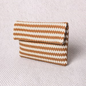 Striped Thick Weave Foldover Clutch