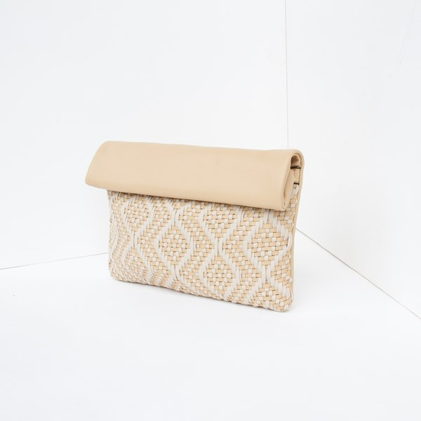Fold Over Woven Diamonds Soft Clutch