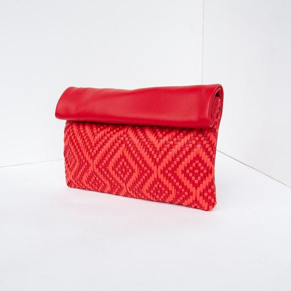 Fold Over Woven Diamonds Soft Clutch