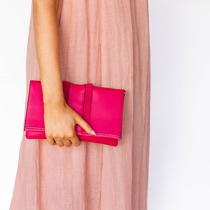 Faux Suede Ruffles Fold Over Rectangle Clutch