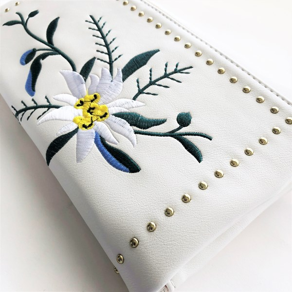 Embroidered Flowers Stud Edge Foldover Clutch