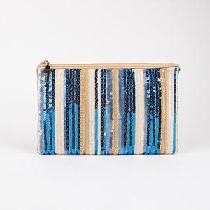 Stripe Sequins Zip Top Rectangle Clutch